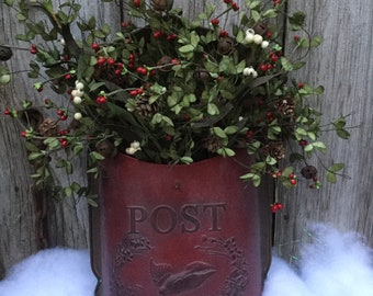 Red Metal Post Box with Winter Greens, Rusty Jingle Bells and Red Berries