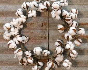 Cotton Farmhouse Wreath
