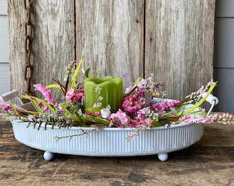 Summer Centerpiece in White Enamel Footed Tray