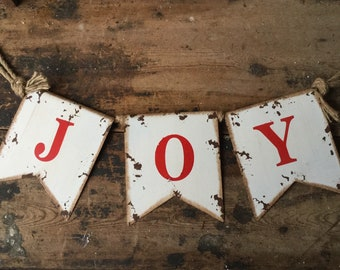 Rustic Joy Banner, Christmas Decor, Christmas Joy, Winter Decor, Vintage Christmas, Christmas Banner, Fireplace Decor, Mantle Banner