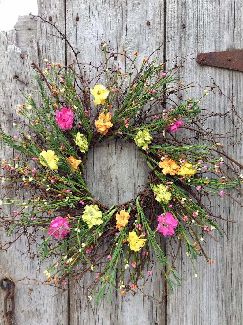 Summer Wreath Farmhouse Wreath Free Ship Rustic Wreath Pip Berry Wreath Spring Wreath Twig Wreath with Summer Flowers and Pip Berries