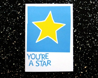 Thank you card - You're a Star card with illustration of a star