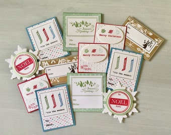 12 Self-Adhesive To From Christmas Gift Tags . Noel . Seasons Greetings . Tis the Season . Merry Christmas