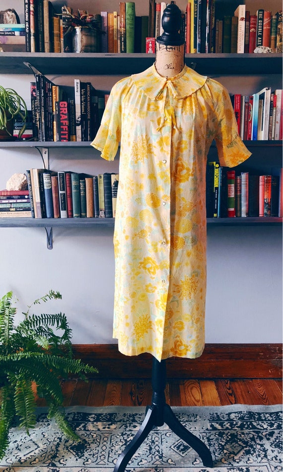 1940s Yellow Flowered House Dress