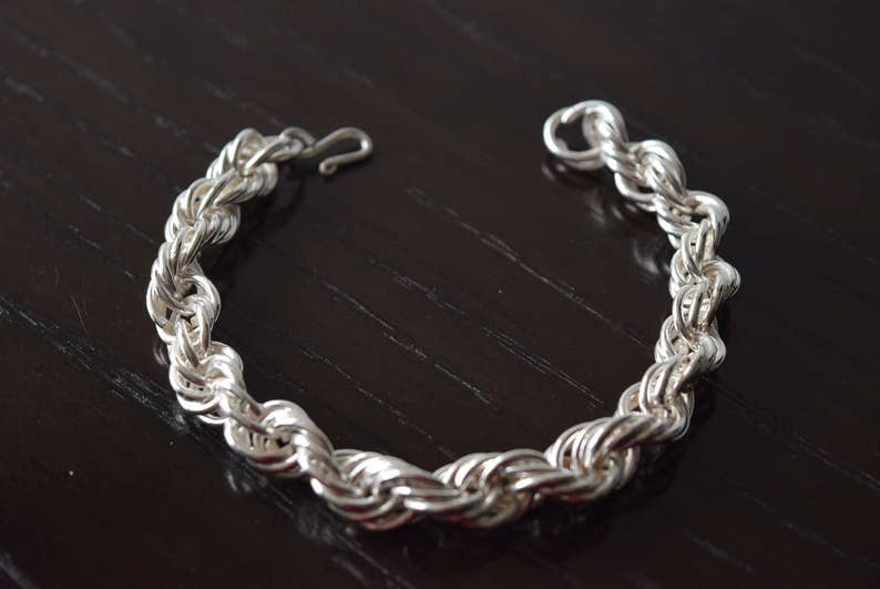 6a1a41b67dadb Mens 925 Sterling Silver Rope chain Link Bracelet Handmade.