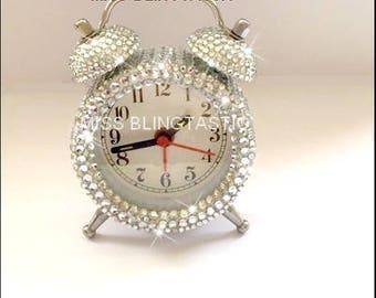 Customised Crystal Embellished Mini Alarm Clock - Rhinestone Diamante Alarm Clock - Blinged Clock - Embellished Clock