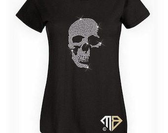 849181cbe71ee Ladies Rhinestone Skull T-Shirt - Skull Shirts - Crystal Embellished Shirt  - Ladies Bling Shirts