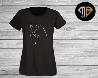 6cea221c657 Ladies Horse Rhinestone T Shirt - Horse Riding Shirt - Riding Shirts -  Equestrian T-Shirts - Bling Women s Tops