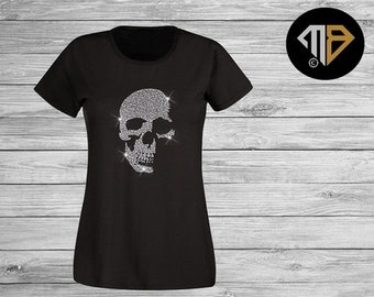 1971f60f Ladies Skull T Shirt - Crystal Embellished Shirt - Skull Shirts - Women's Skull  T Shirts - Rhinestone Diamante Shirts