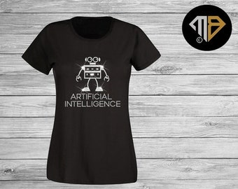 69d41d96 Artificial Intelligence T Shirt - Funny T Shirts - Rhinestone Diamante T  Shirts - Gifts For Her - Custom Bling Shirt - Birthday Gift - Robot