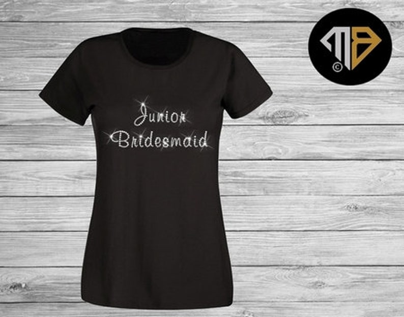 91e423f01d37d Junior Bridesmaid T Shirt - Bridal Party Shirts - Hen Do Shirts - Hen Night  T-Shirts - Wedding T Shirts - Rhinestone Diamante Shirts