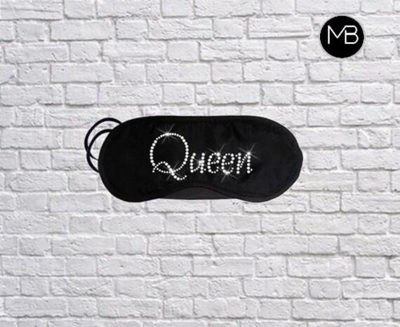 Queen Eye Mask Queen Sleep Mask Rhinestone Diamante Sleeping Mask Travel Eye Mask Blindfold Custom Eye Mask