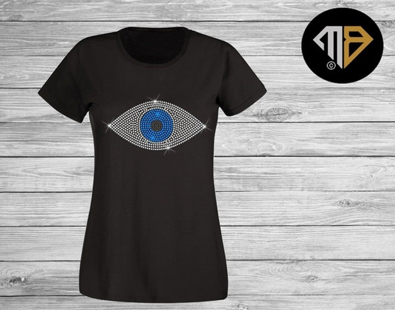 6517cacf1bd5ca Evil Eye Rhinestone T-Shirt Diamante T-Shirts Evil eye T