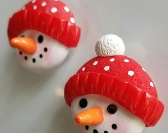 Christmas holiday snowman fridge magnets handmade polymer clay FREE SHIPPING