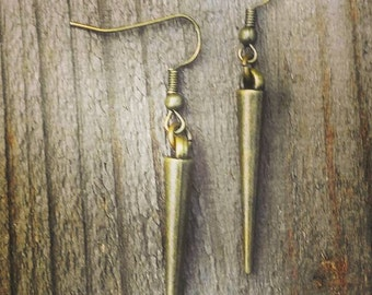 Antique Bronze, Dagger earrings, handmade earrings, boho earrings, small simple, dangle earrings, dangle drop earrings, boho chic