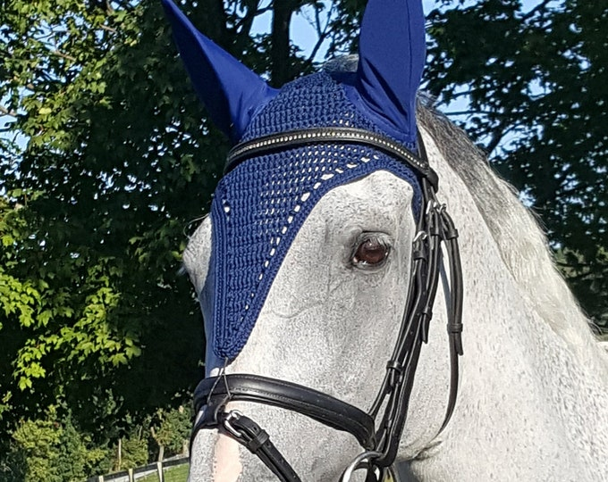 Navy Blue Tie-Down Horse Fly Bonnet