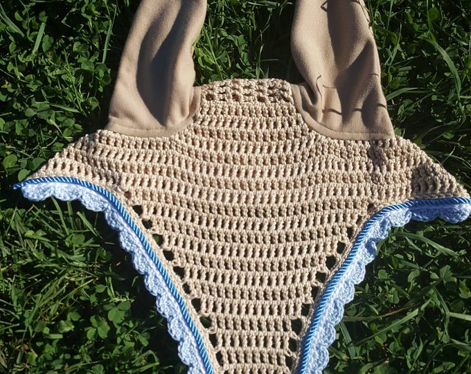 Beige Horse Fly Bonnet with White and Blue Trim