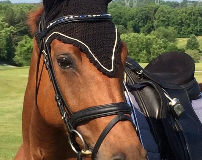 Black Horse Fly Bonnet with Rhinestone Trim