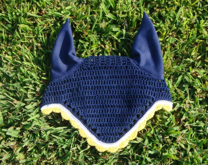 Navy Blue Horse Fly Bonnet with White and Gold Trim
