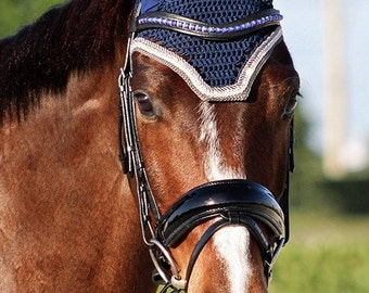 Navy Horse Fly Bonnet with Grey Trim and Rose Gold Rhinestones