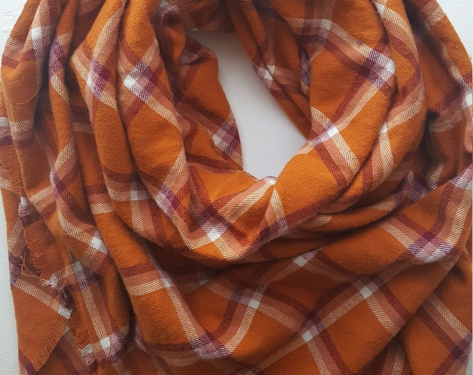 Orange Flannel Blanket Scarf