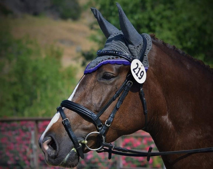 Grey Horse Fly Bonnet with Purple and Lavender Trim