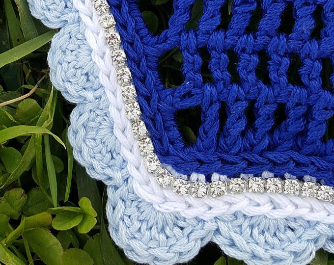 Dark Royal Blue Horse Fly Bonnet with White and Baby Blue Trim