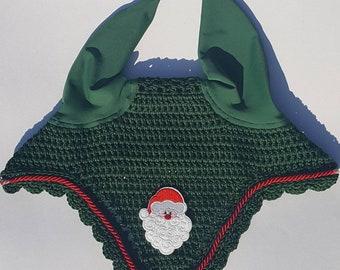 Christmas Horse Fly Bonnet / Fly Veil / Horse Ear Bonnet with Santa