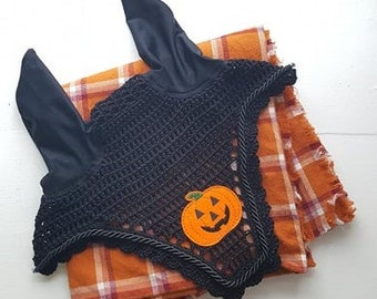 Black Halloween Horse Fly Bonnet with Black Cord