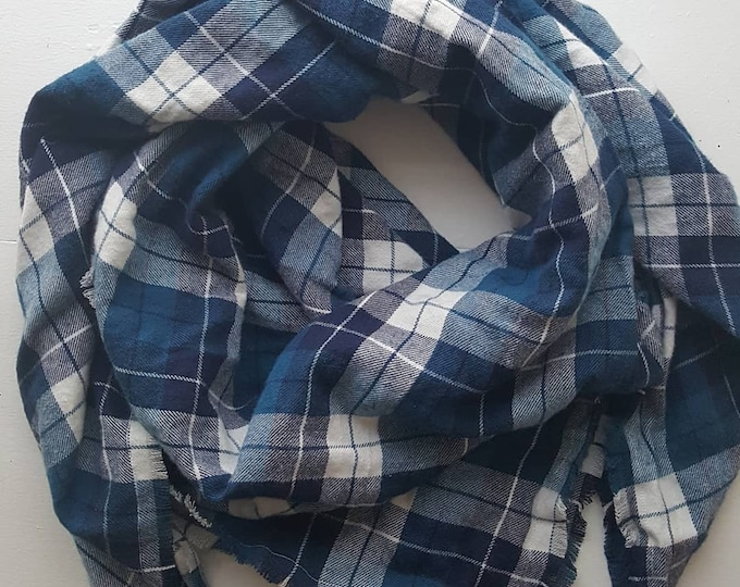 Blue Flannel Blanket Scarf