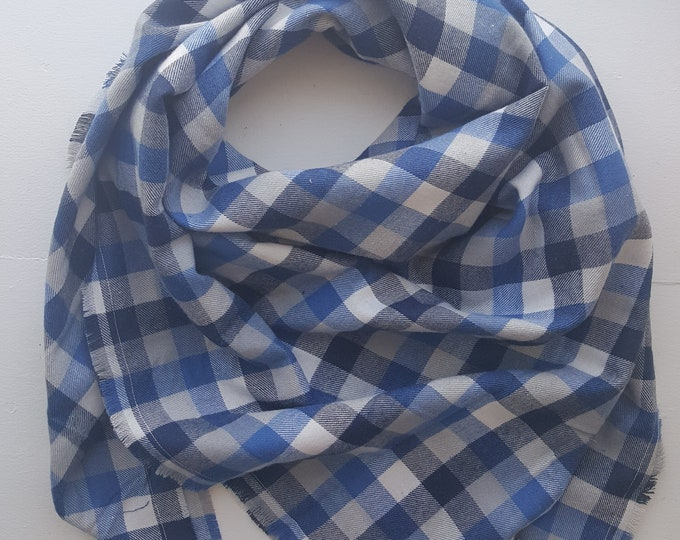 Blue Check Flannel Blanket Scarf