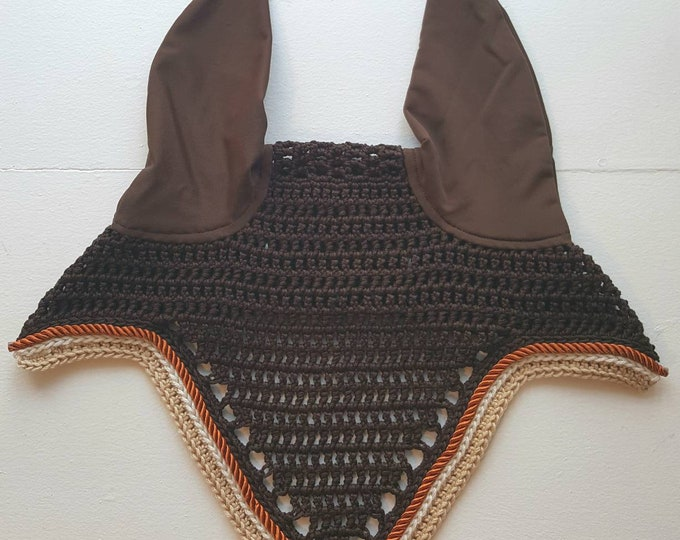 Brown Horse Fly Bonnet with Cream and Orange Trim