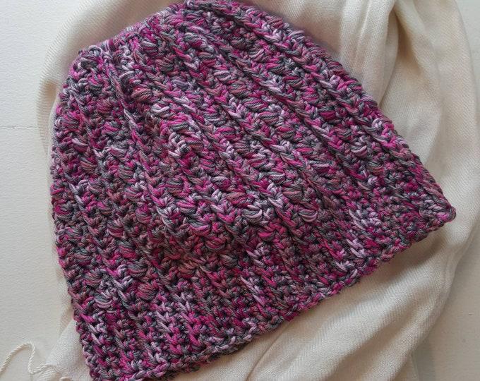 Pink Crochet Ponytail Beanie