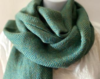 Handwoven Scarf / Turquoise Merino Wool Scarf / Winter Scarf / Wool Scarf / Women's Scarf