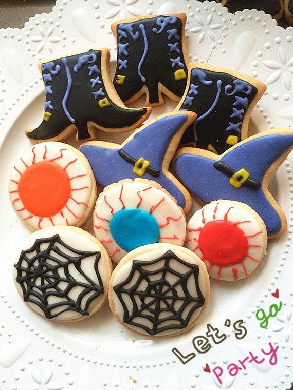 Halloween Party Cookies Sale Homemde Halloween Party Set Vanilla Sugar Cookies Holiday Cookies Royal Icing Decorated Cookies One Dozen