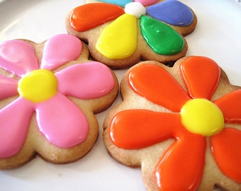 New year gift cookies--Homemade sugar Cookies / flower cookies / party cookies /Spring cookeis----one dozen