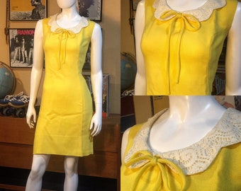 d6c35c0b8c Vintage Yellow Linen Dress 1960 s