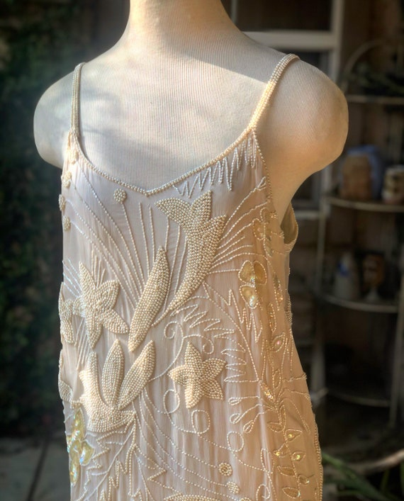 Vintage 1980's Silk Hand Beaded  White Dress