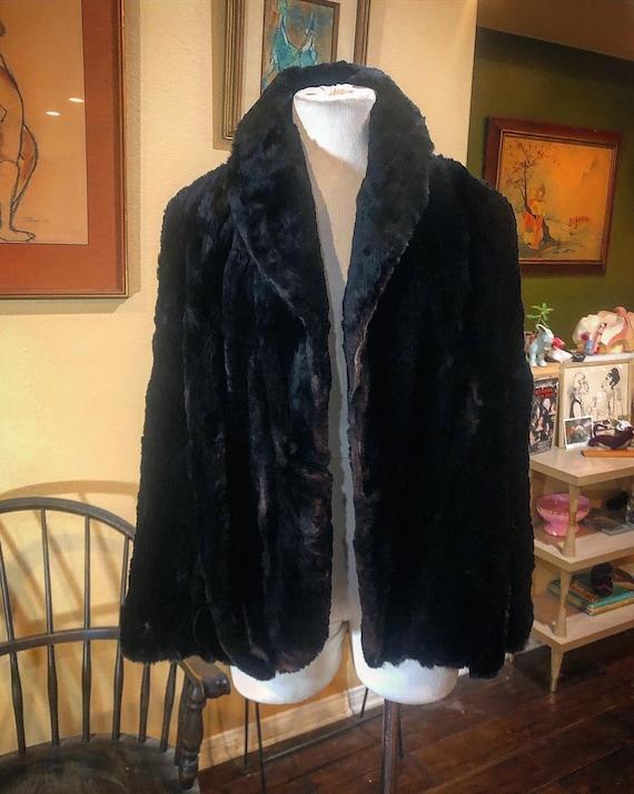 Vintage 1940's Black Fur Cape