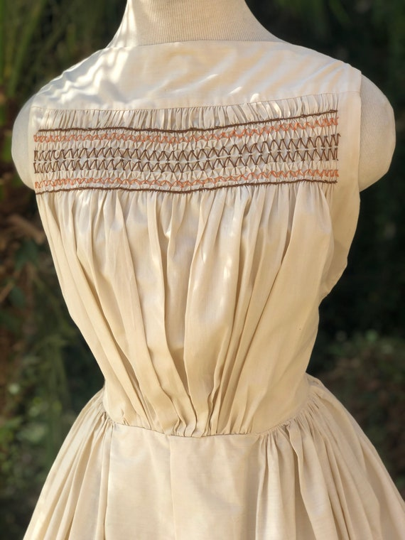 Vintage 1950's Cream Cotton Dress - image 6