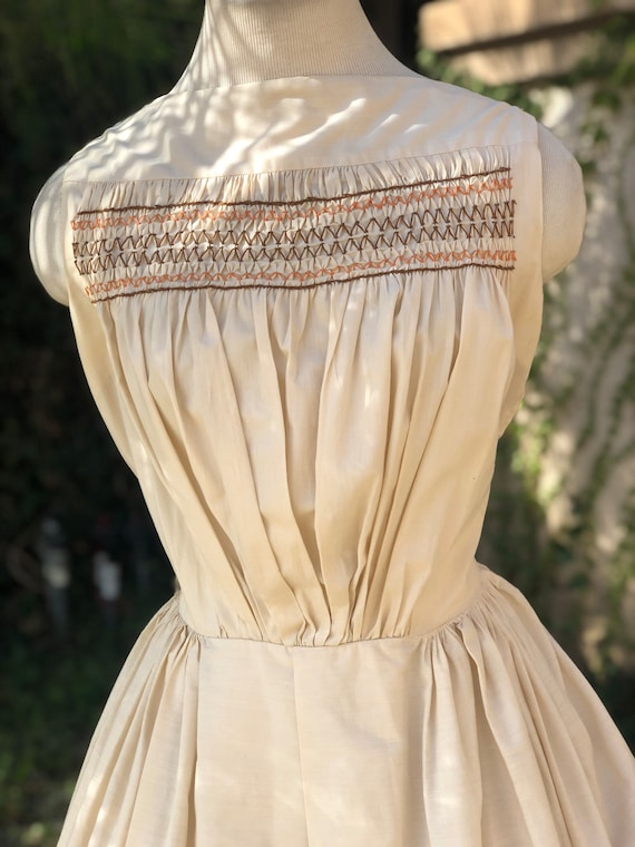 Vintage 1950's Cream Cotton Dress - image 2