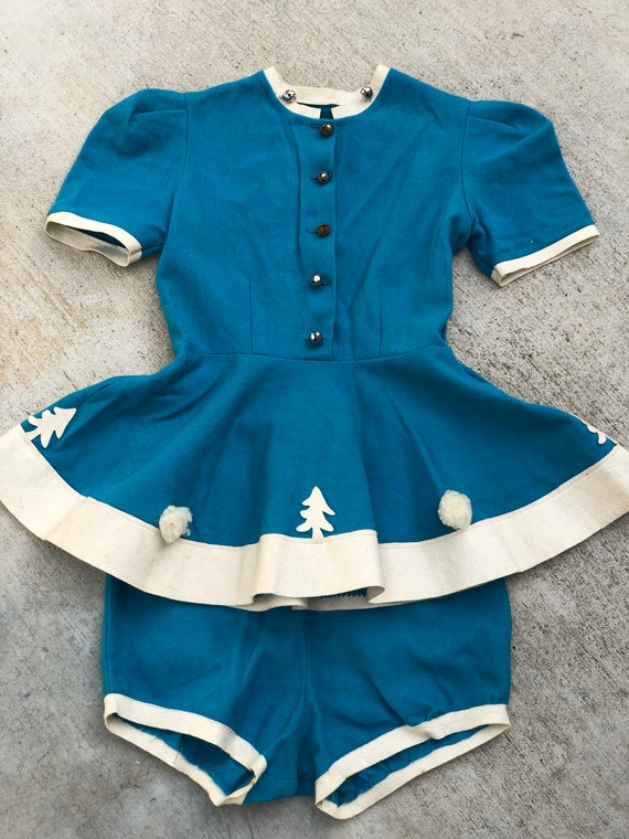 Vintage 1940's Kids Wool Christmas Dance Costume