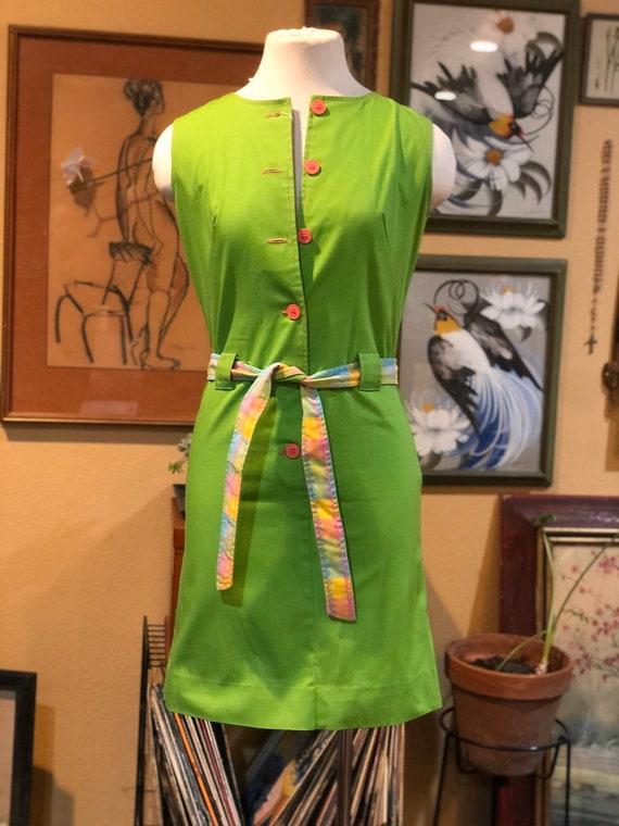 Vintage 1960's Green Mod Dress