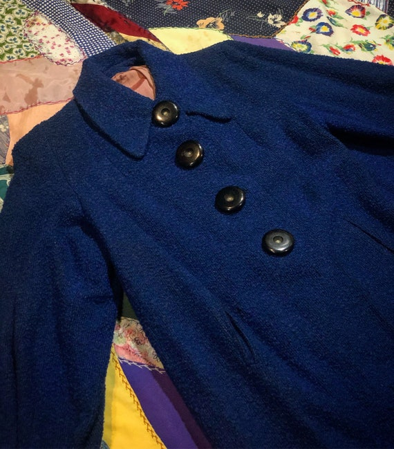 Vintage 1940's Blue Wool Coat