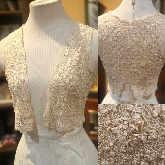 Antique Victorian Ivory Lace Vest