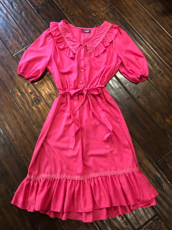 Vintage 1970's Pink Cotton Prairie Dress