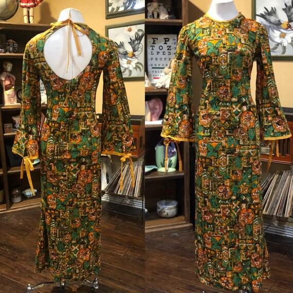 Vintage 1960's Hawaiian Barkcloth Maxi Dress
