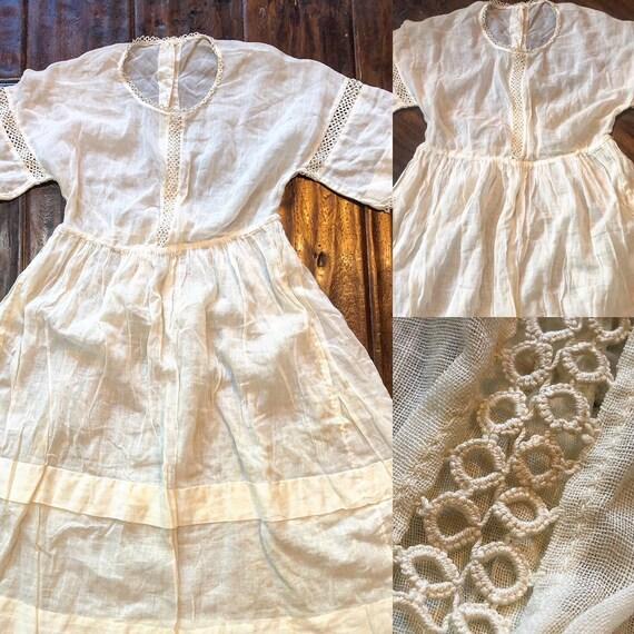Edwardian White Cotton Girls Dress