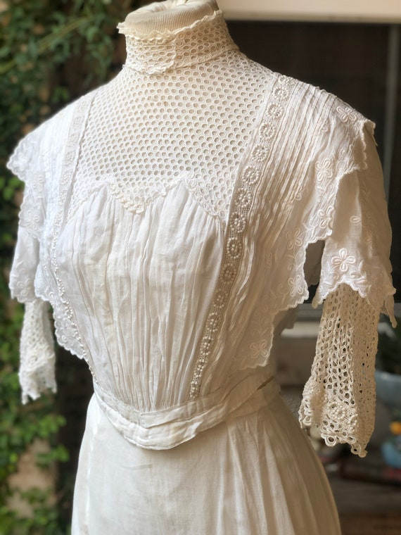 Antique Edwardian White Cotton Bodice