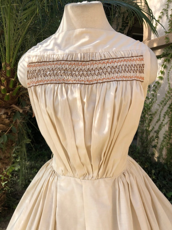 Vintage 1950's Cream Cotton Dress - image 7